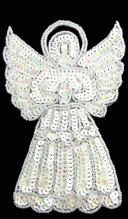 "Angel with All White Sequins and Beads 6"" x 4"" - Sequinappliques.com"