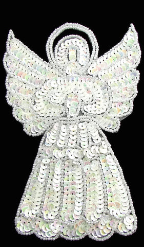 "Angel with All White Sequins and Beads 6"" x 4"""