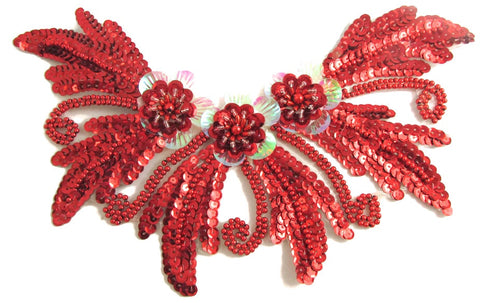 "Neck Line with Red Sequins and Beads 6"" x 10.5"""