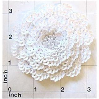 "Flower with Three Layers of White Sequins and Beads and Pearls  3"" x 3"""