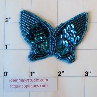 "Butterfly withTurquoise Sequins 2.5"" x 2"""