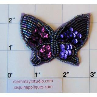"Butterfly with Purple Sequin 2.5"" x 2"""