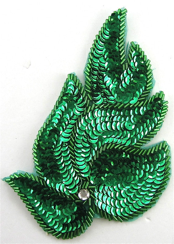 "Designer Motif Leaf with Green Sequins and Beads and rhinestone 6"" x 3.5"""