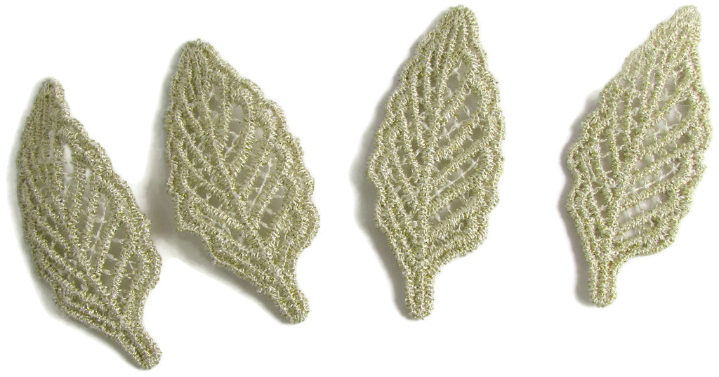 "Leaf Set of Four Embroidered with Metallic Gold and Tan Threads 2"" x 1"""