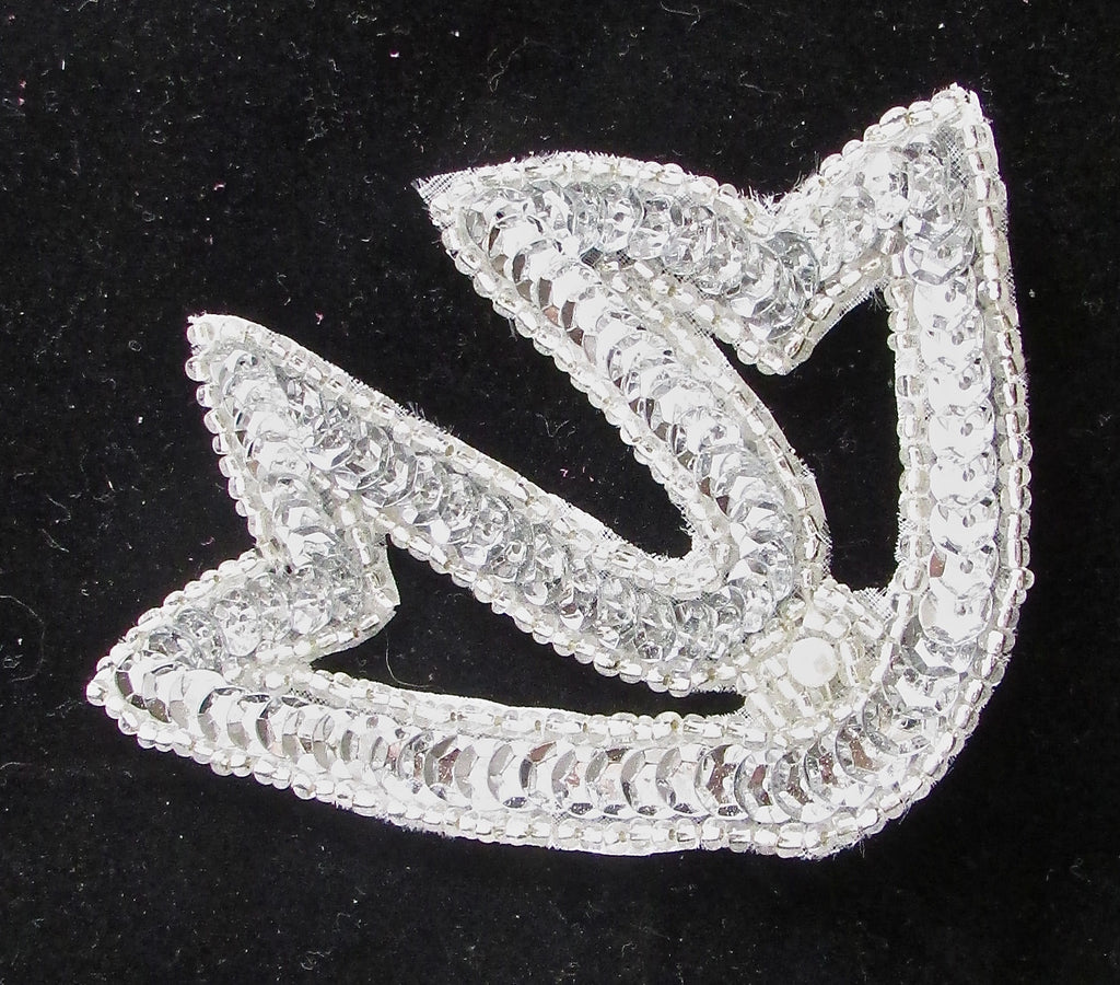 "Designer Motif with Silver Sequins and Beads and Pearl 3.5"" x 3"""