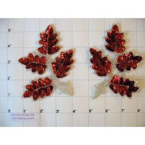 "Leaf Pair with Red Sequins and Silver Beads 4.5"" x 4"""