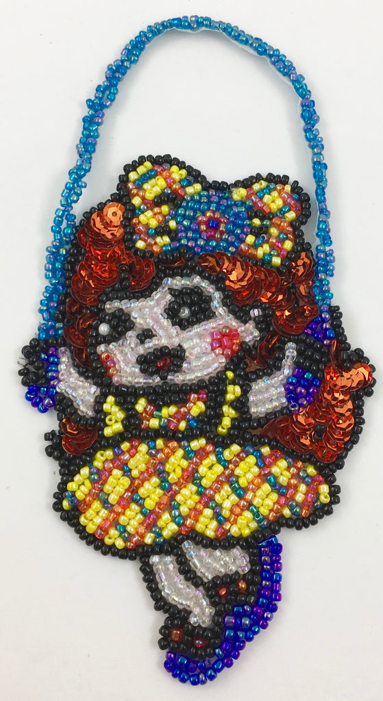 "Cartoon Girl Jumping Rope with Multi-Colored Sequins and Beads 3"" x 5.5"""