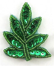 "Load image into Gallery viewer, Leaf with Green Sequins and Beads 2"" x 1.2"""