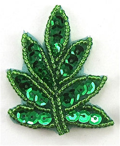 "Leaf with Green Sequins and Beads 2"" x 1.2"""