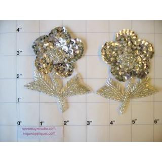 Mirrored pair silver sequin and bead flowers  4""