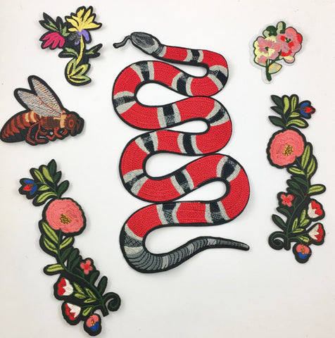 "Snake and Nature Assortment, Embroidered Iron On  6"" x 11"" ON ORDER"