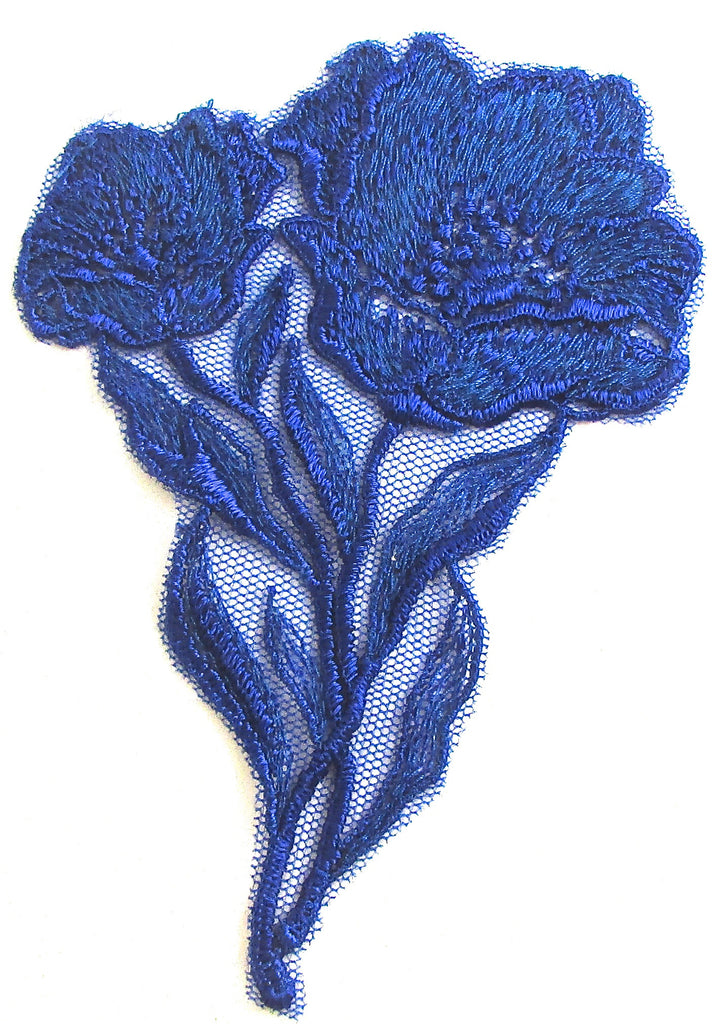 "Flower Navy Blue Embroidered 4"" x 3"""