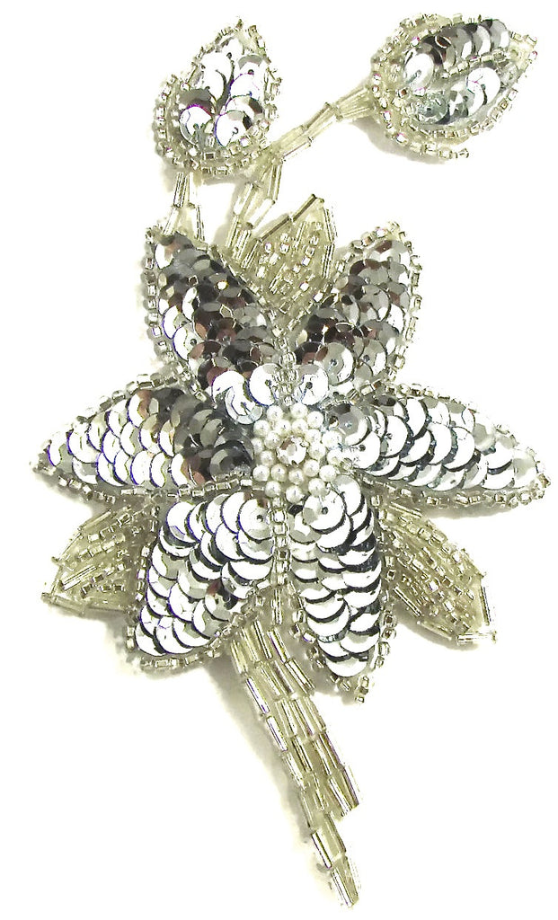 "Flower with Silver Sequins and Beads and Rhinestone 2 rows Pearl 6"" x 3.5"""