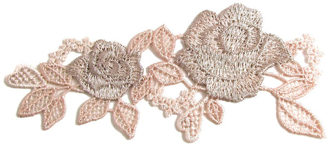 "Flower Embroidered Applique with Pink and Tan Colors 2.5"" x 6"""