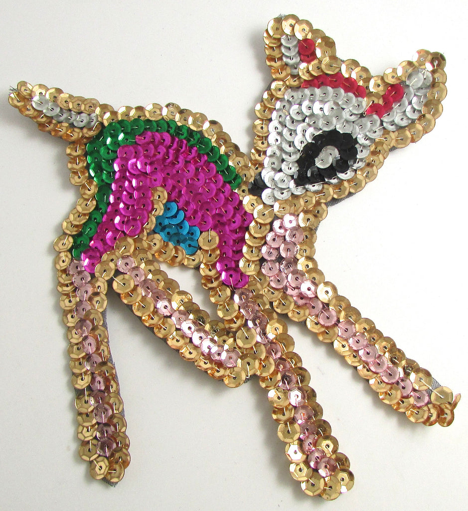 "Fawn Bambi with Multi-colored Sequins 6"" x 5"""