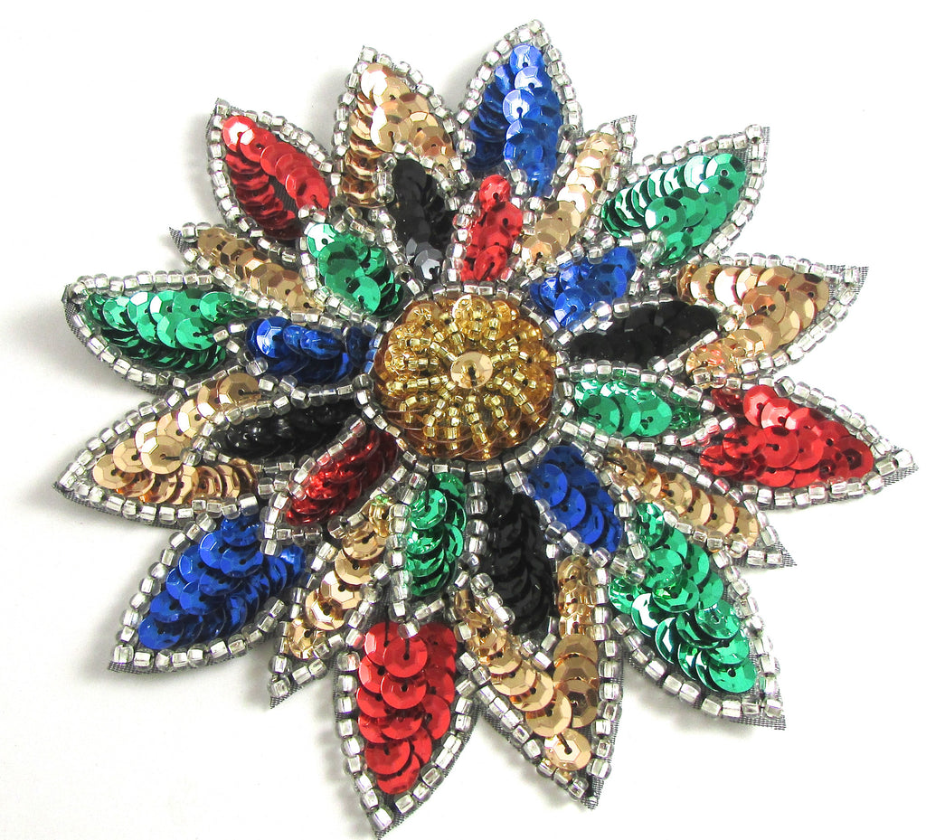 Flower with Multi-Colored sequins and Beads 5""