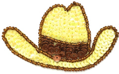 "Hat Cowboy Yellow and Bronze 3"" x 2"""