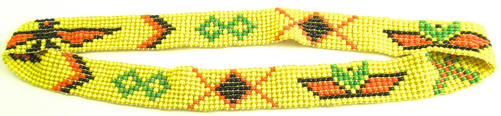 Headband with Yellow, green, orange, black Beads 19""