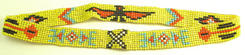 Headband with Yellow, Turquoise Orange Beads 19""