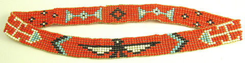 Headband with Orange black white turquoise beads 19""