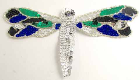 "Dragonfly with Blue Green and Black Sequins 4"" x 7"""