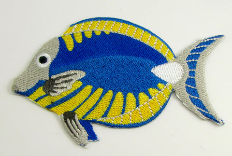"Fish Embroidered Iron-On Yellow Blue and White  2.5"" x 4"""