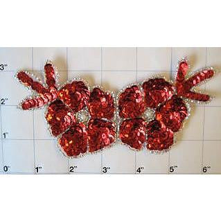 "Flower with Red Sequins with Silver Beads 6"" x 3"""