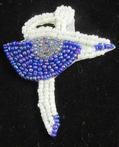 "Ballerina with Moonlight and White Beaded Tutu  2.5"" x 2"""