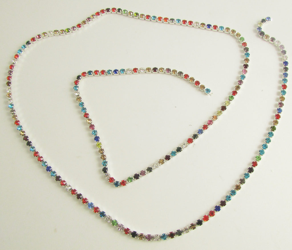 "Rhinestones by the Yard with Multi Colors 7/8"" wide"
