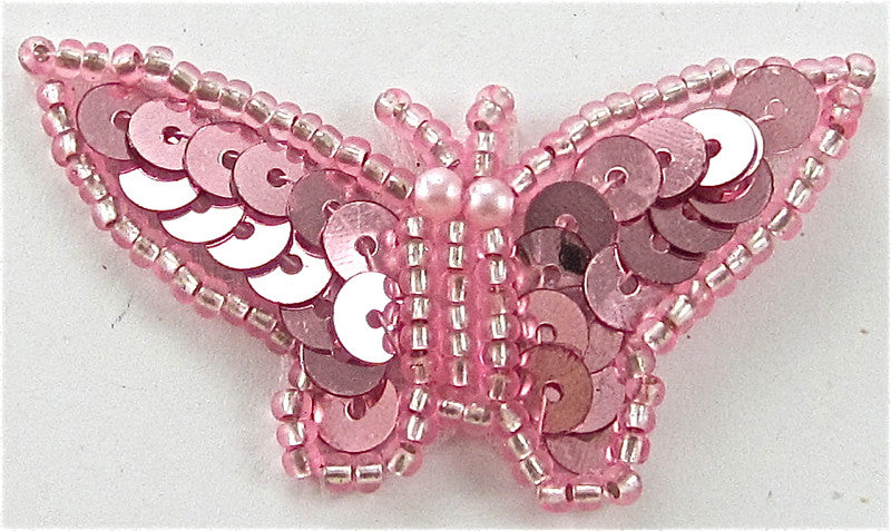 "10 PACK Butterfly Pink Sequins and Beads 1"" x 1.25"""