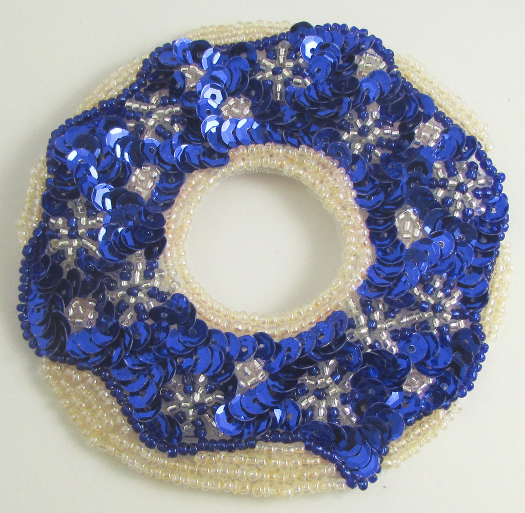 Donut with Blue and White Christmas Frosting Decoration  4""