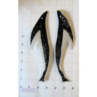 "Design Motif Whale-Shaped Pair with all Beads 9"" x 2"""