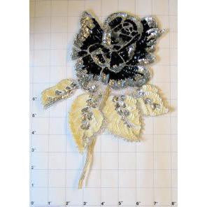 "Flower Black and Beige Large 10.5"" x 8"""
