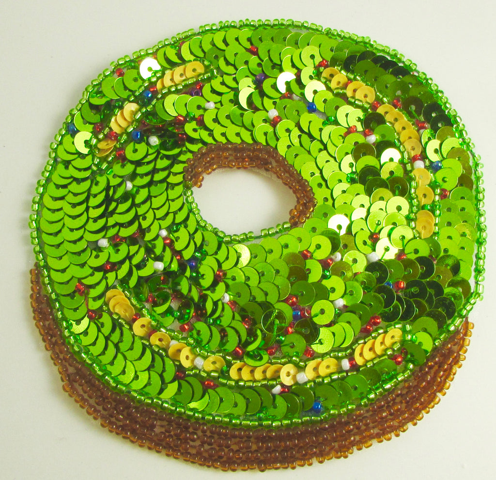 Donut with Christmas Green Gold Red Frosting 4""