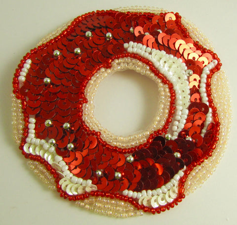 Donut with Red and White  Frosting 3.5""