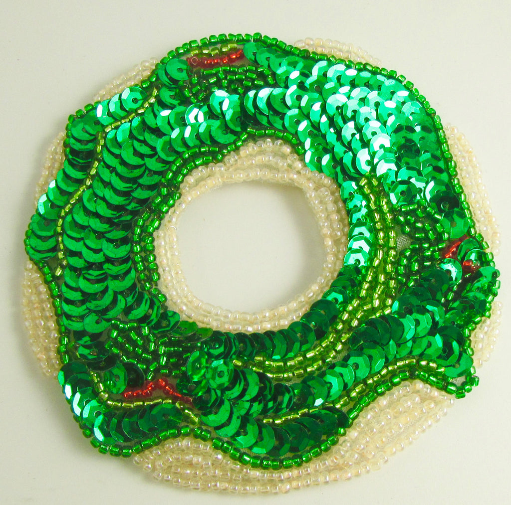 Donut with Green and Red Christmas Frosting 3.5""