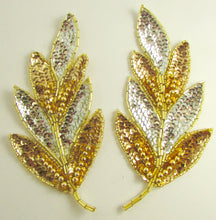 "Load image into Gallery viewer, Leaf Pair with Silver and Gold Sequins and Beads 7"" x 3"""