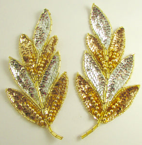 "Leaf Pair with Silver and Gold Sequins and Beads 7"" x 3"""