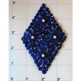 "Designer Motif with Blue Sequins and Beads and Pearls  4.5"" x 3"""