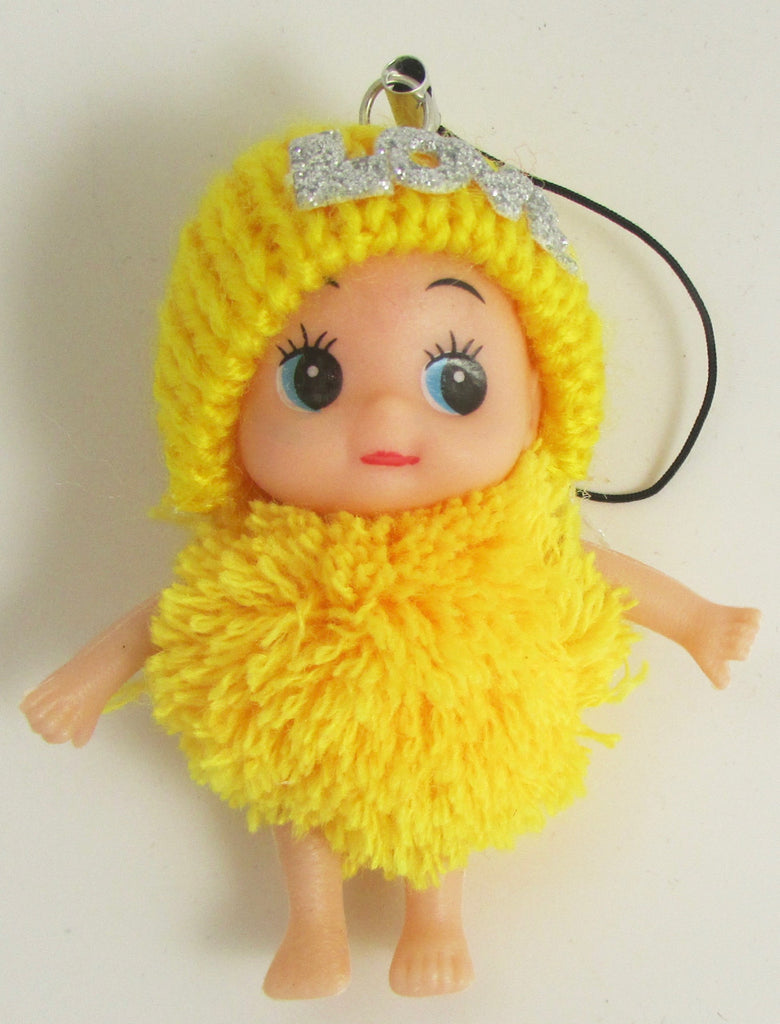 "Child Adorable Ornament Yellow Puff Ball Dress and Hat says Love  3"" x 2"""