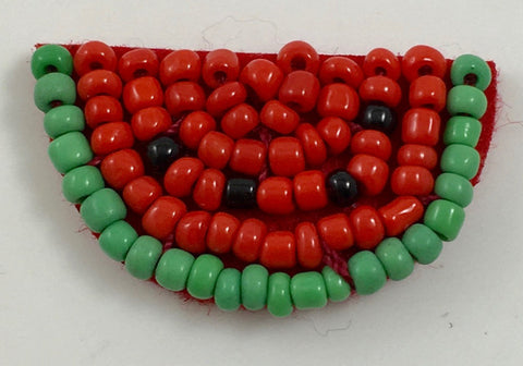 "Watermelon all red and Green Beads 1.5""x .5"""