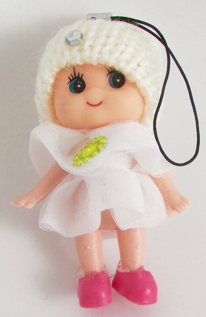 "Child Adorable Ornament White Dress and Hat with Jewels 3"" x 2"""