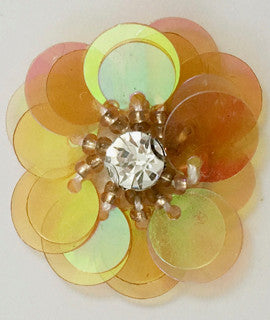 "Flower with Turquoisey Yellowish Sequns and Rhinestone 1"" x 1"""