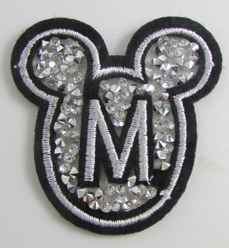 "Mouse Face with Letter ""M"" Iron-on Sparkle 2"" x 2"""