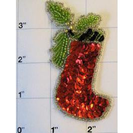 Christmas Stocking with Black & Green top trim w/ Holly