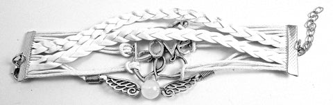 "Bracelet with White leather says  Love etc 6"" not counting chain clasps"