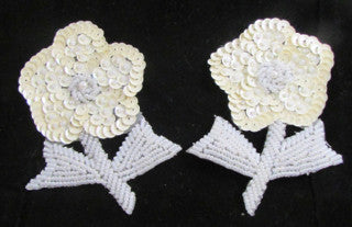 "Flower Pair with Cream Sequins and White Beads 4"" x 3"""