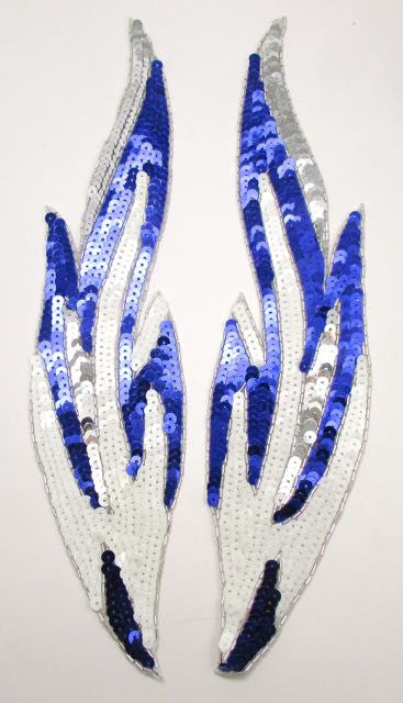 "Flame Pair with Purple White, Silver Sequins and Silver Beads  14"" x 3"""