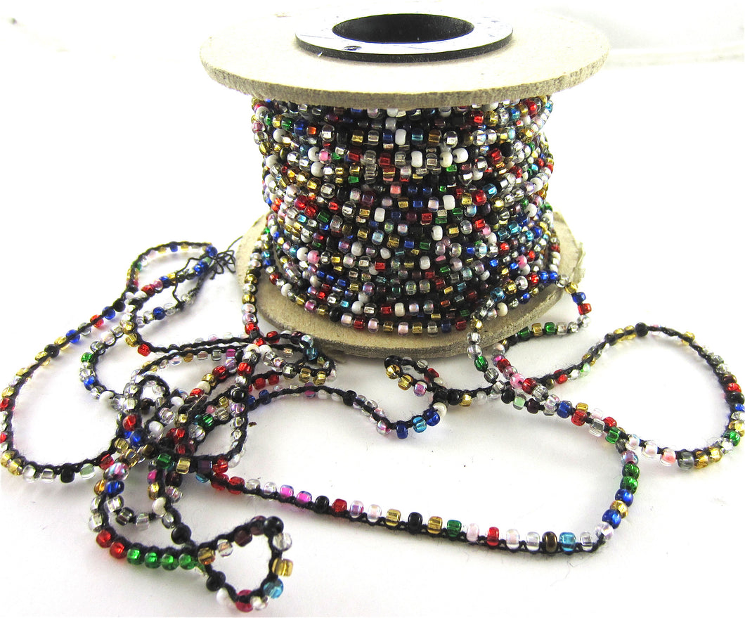 Beads on a String Attached Multi-Colored, Sold by the Yard
