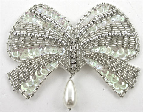 "Bow Rhinestones Silver Beads Iridescent Sequins  and Pearls 3.5"" x 4.5"""